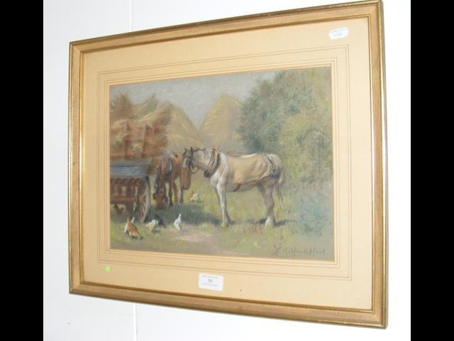 Lot 56 - C ACKLAND HUNT - pastel depicting horses in farmya