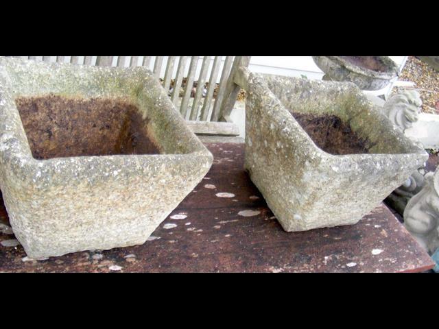 Lot 5 - A pair of square stone plant pots