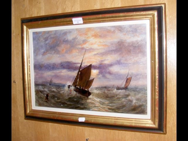 Lot 38 - Antique oil on canvas of sailing vessel in rough s