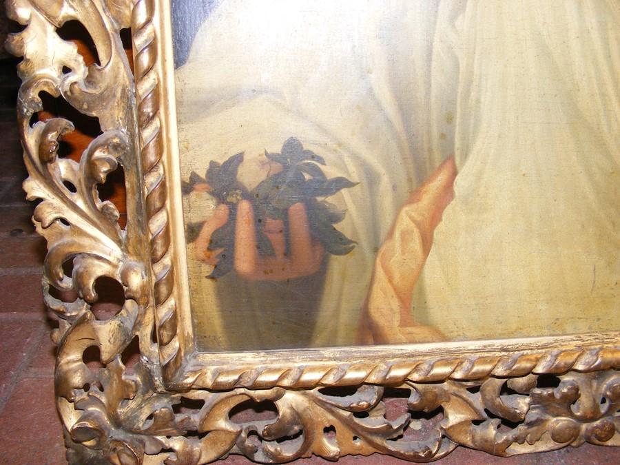 Lot 28 - An antique oil on canvas entitled 'Flora' in decorativ