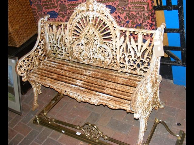Lot 33 - Heavy cast metal antique style garden bench