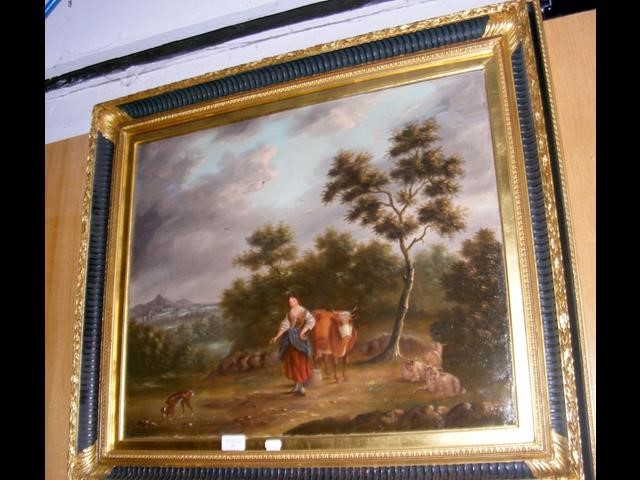 Lot 37 - Antique oil on canvas of lady with cattle in rural