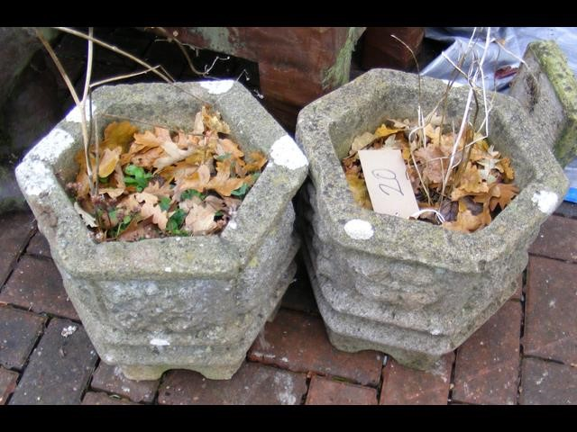 Lot 20 - A pair of hexagonal garden plant pots