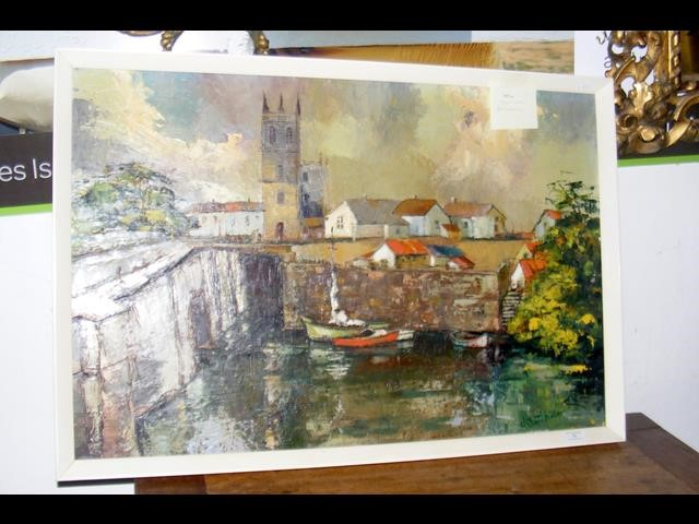 Lot 30 - JONATHAN BATCHELOR - oil on canvas of town boating