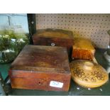 Lot 52 - A 19th Century tea caddy and three boxes