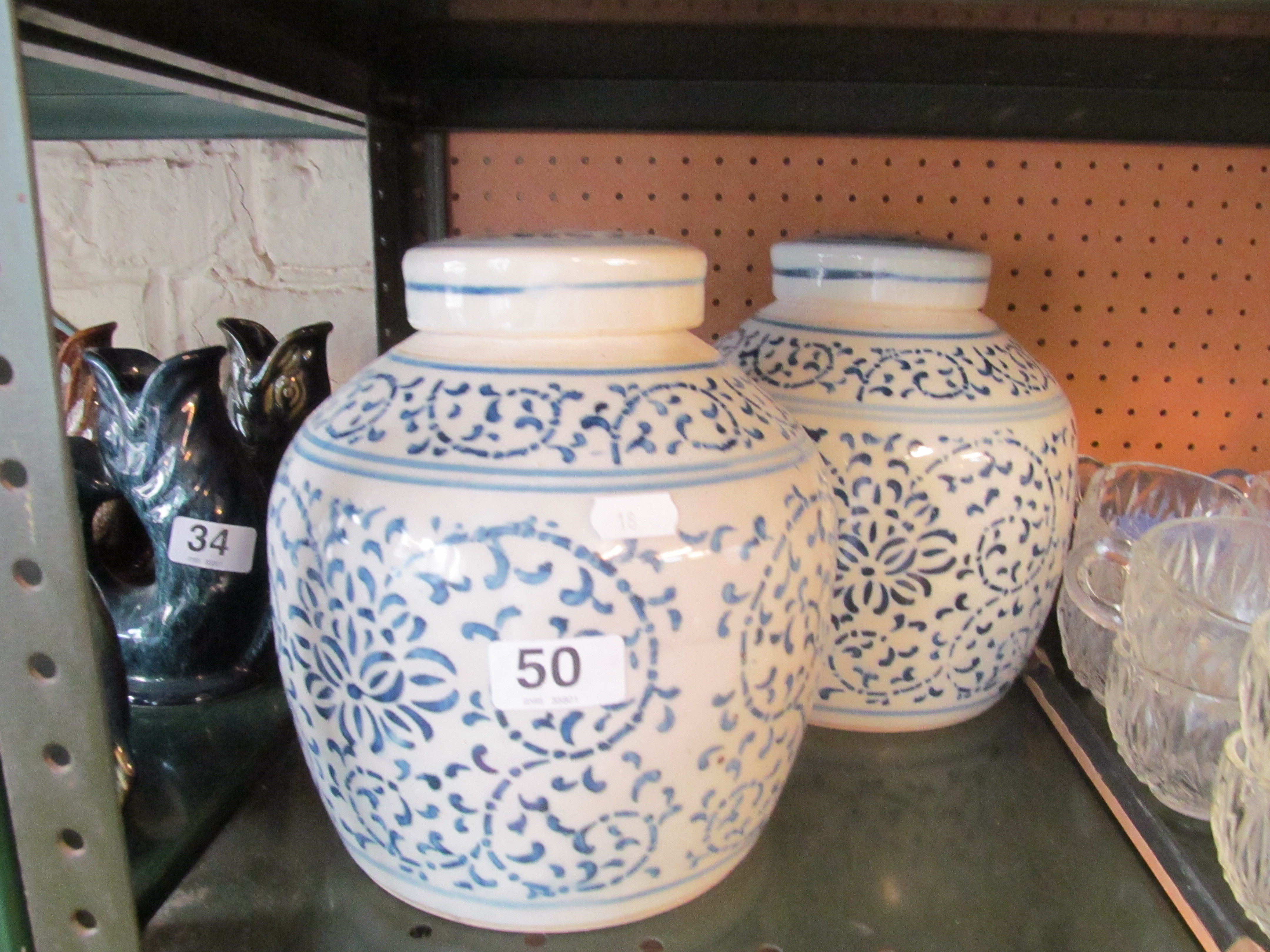 Lot 50 - Two blue and white ginger jars