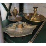 Lot 41 - A brass chamberstick, candles snuffers and two brass inkstands