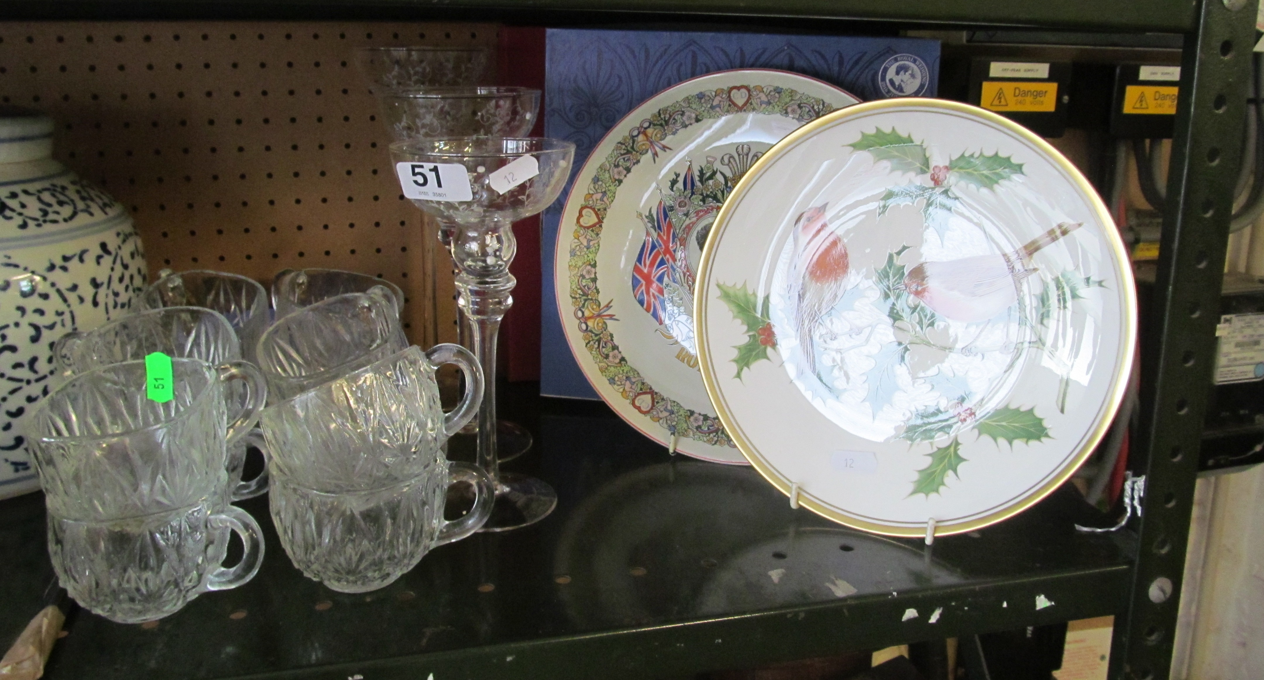 Lot 51 - Three glass candleholders, glass cups, Royal Wedding plate and another Spode plate decorated robins