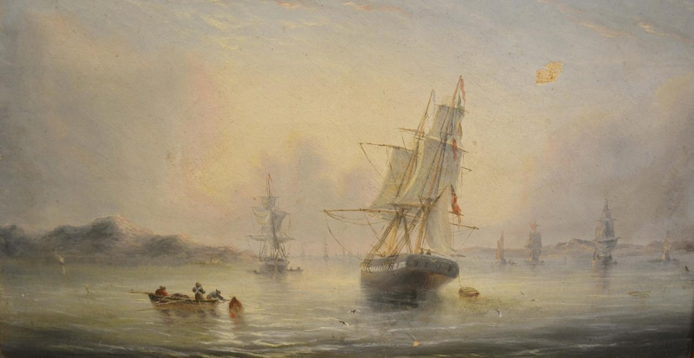 Lot 70 - John Rose Miles, 1844-1916, England, Ships in a Rough Sea Off a Coast with Figures in a Rowing