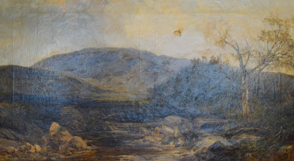 Lot 82 - J Adam 'Highland River Scene with Figures' oil on canvas, signed, 59 x 105 cms