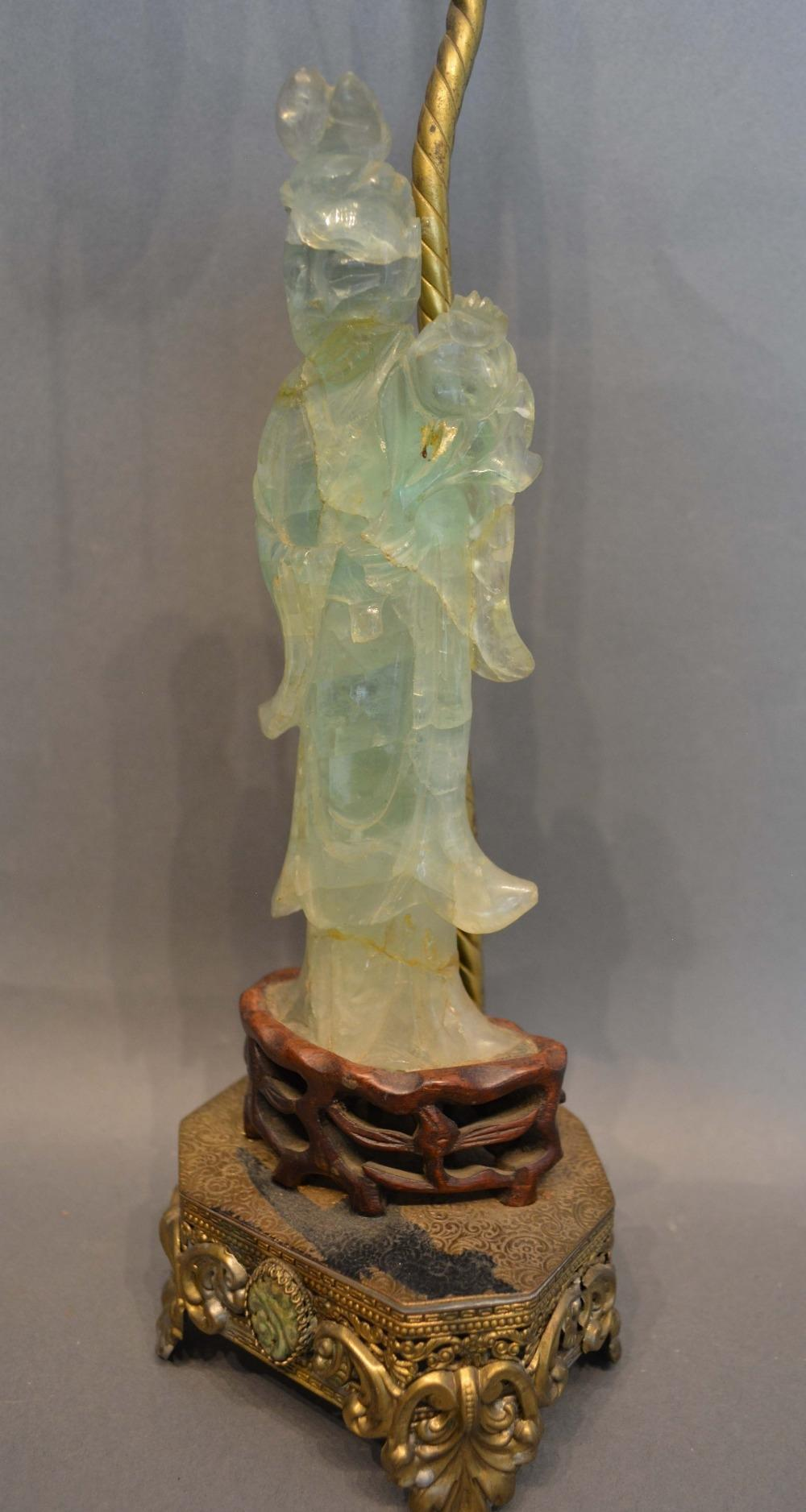 Lot 268 - A Chinese Jade Figure Mounted on a Table Lamp, the figure 23cm tall