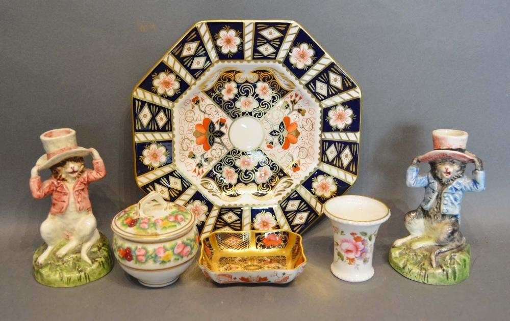Lot 26 - A Crown Derby Small Dish Decorated in the Imari Palette, together with a similar plate, a pair of