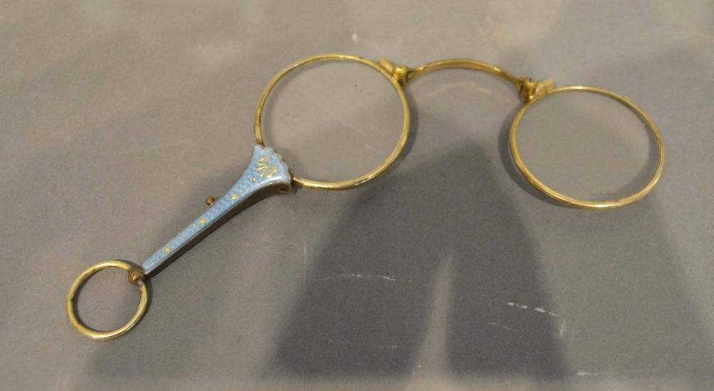 Lot 210 - A Pair of Gold Plated and Enamel Decorated Lorgnettes