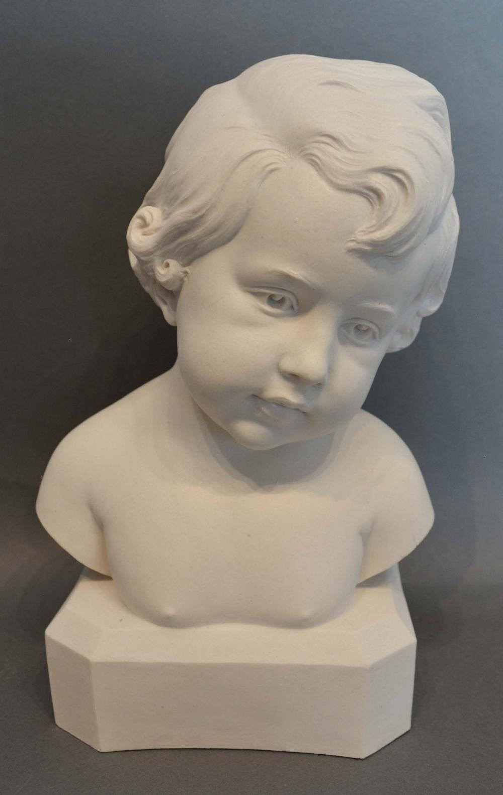 Lot 272 - A Reconstituted Marble Bust in the form of a boy, bearing signature Daniel, 25cm tall