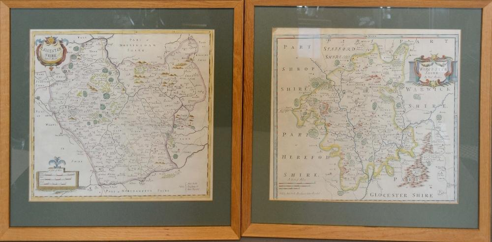 Lot 68 - An Early Coloured Map of Leicestershire by Robert Morden, 36 x 42cm, together with another early