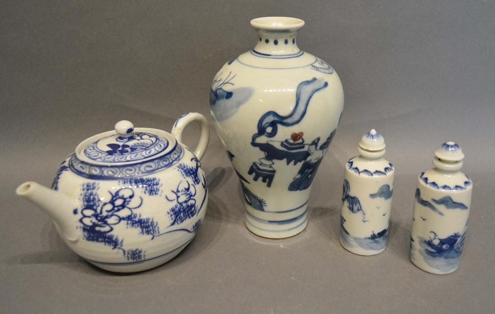 Lot 45 - A Chinese Small Vase decorated in underglaze blue with figures, six character marked base, 15cm