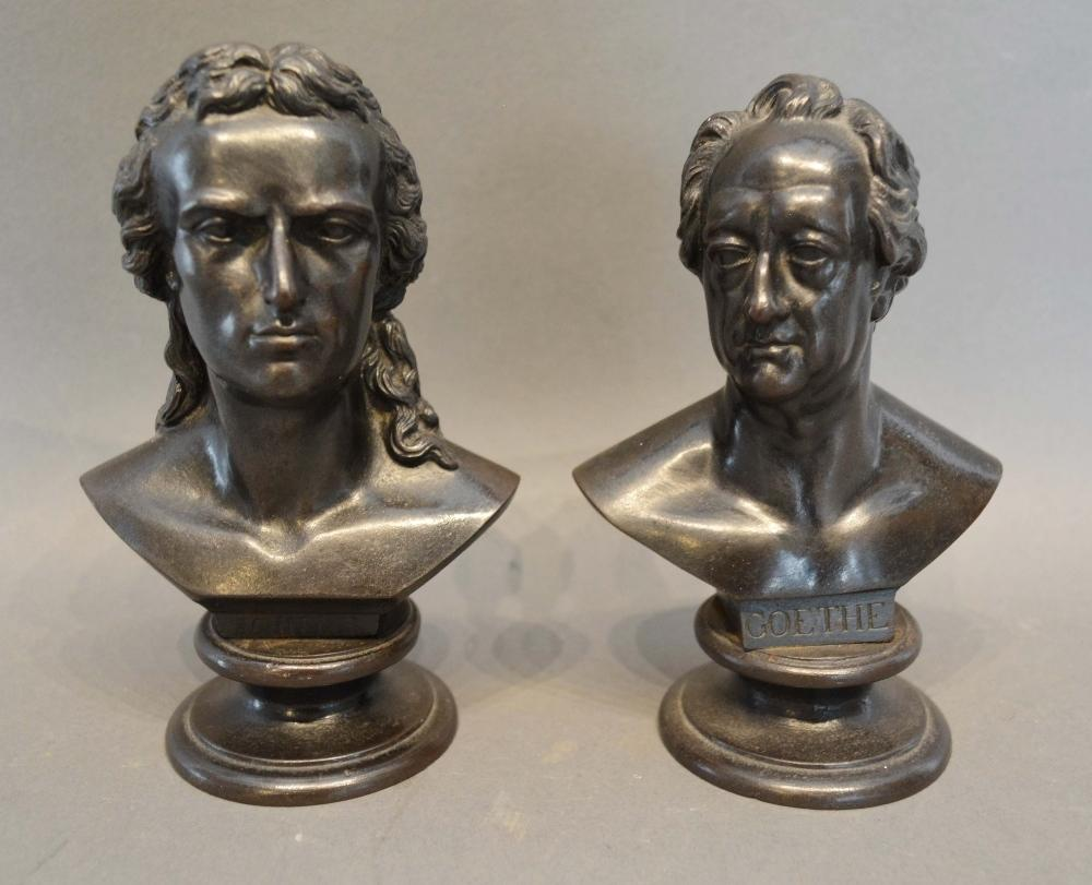 Lot 231 - A Pair of Patinated Bronze Busts in the form of Schiller and Goethe, 15cm tall