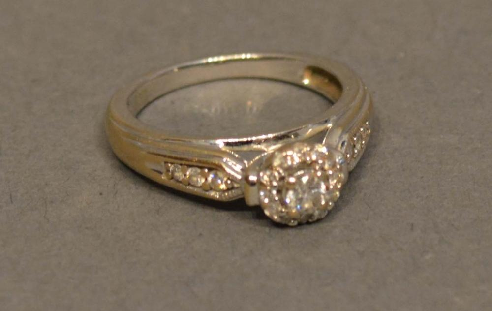 Lot 196 - An 18 Carat White Gold Diamond Cluster Ring set with central diamond surrounded by diamonds and with