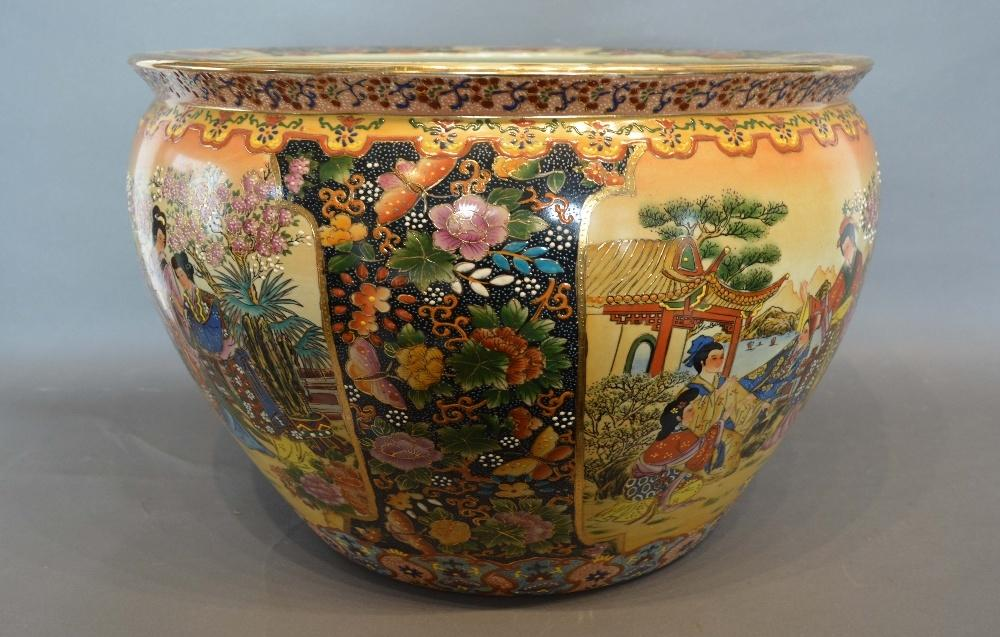 Lot 10 - A Chinese Large Fish Bowl decorated in polychrome enamels and highlighted with gilt, 46cm
