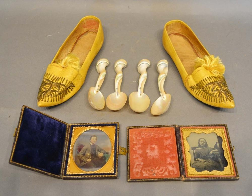 Lot 253 - A Pair of Leather Embroidered Shoes, together with a set of four mother of pearl spoons and two