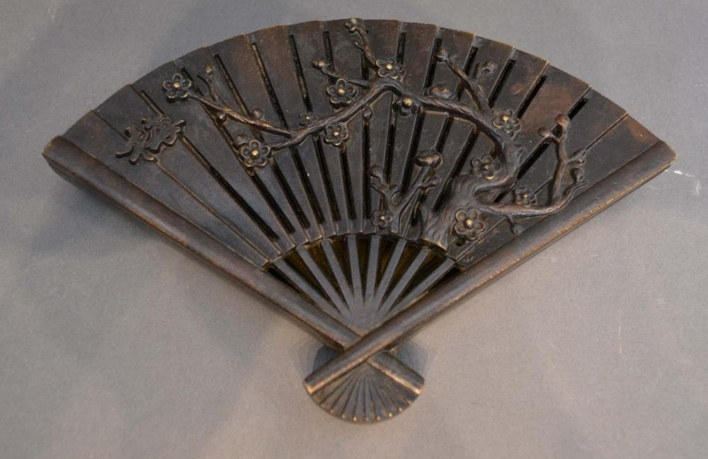 Lot 277 - A Japanese Patinated Metal Box in the form of a fan, seal marked base, 16cm long