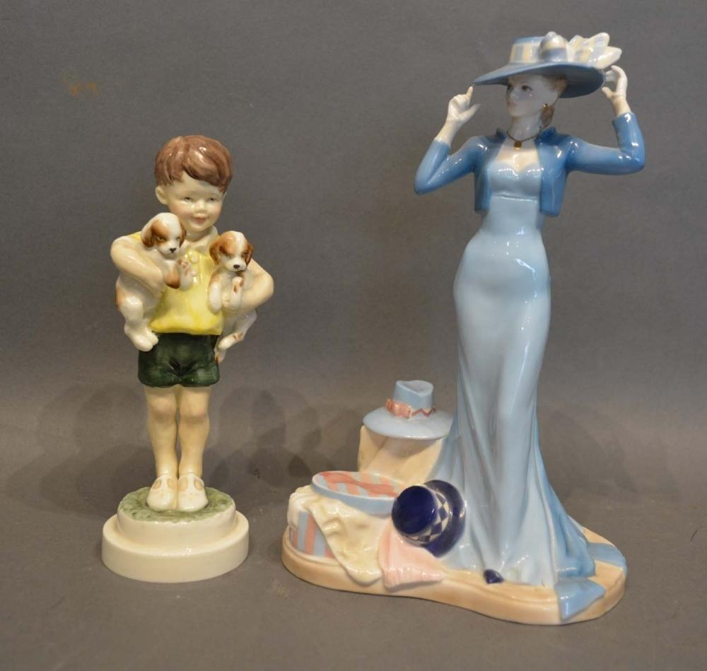 Lot 31 - A Royal Worcester Figurine 'All Mine', no. 3519, modelled by Doughty, together with another Royal