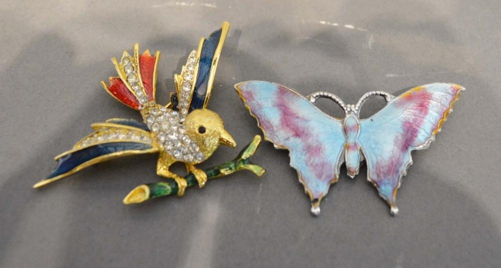 Lot 209 - An Enamel and Paste Set Brooch in the form of a bird, together with another similar brooch in the