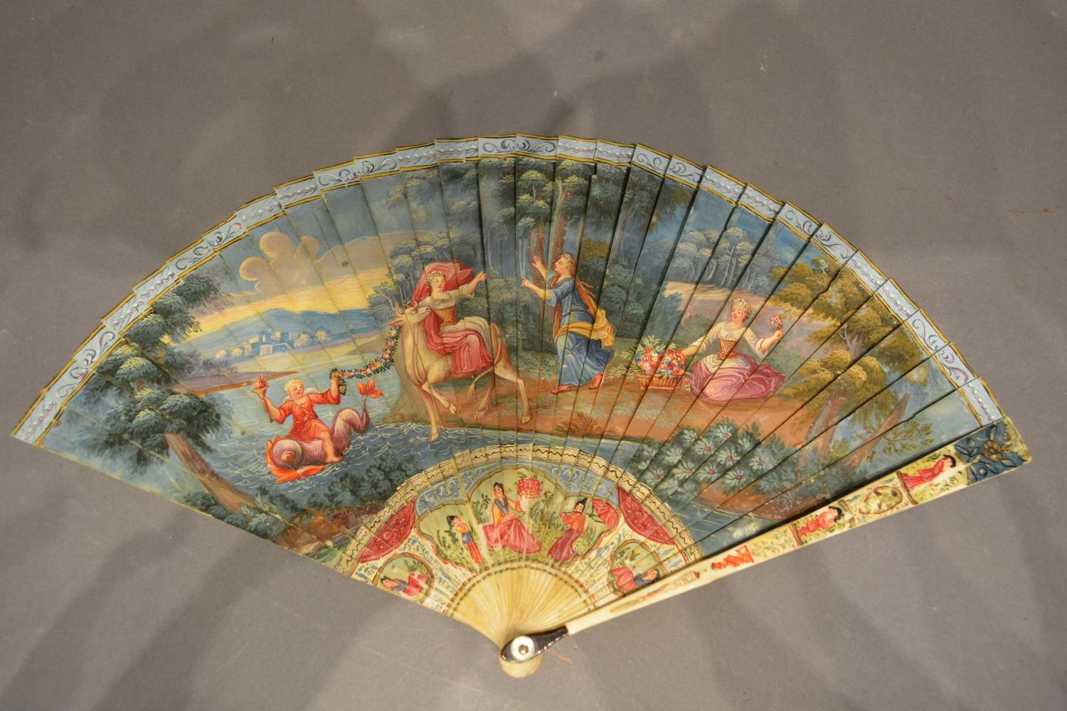 Lot 326 - An 18th Century Ivory Vernis Martin Type Fan, one side hand painted depicting The Rape of Tenopa,