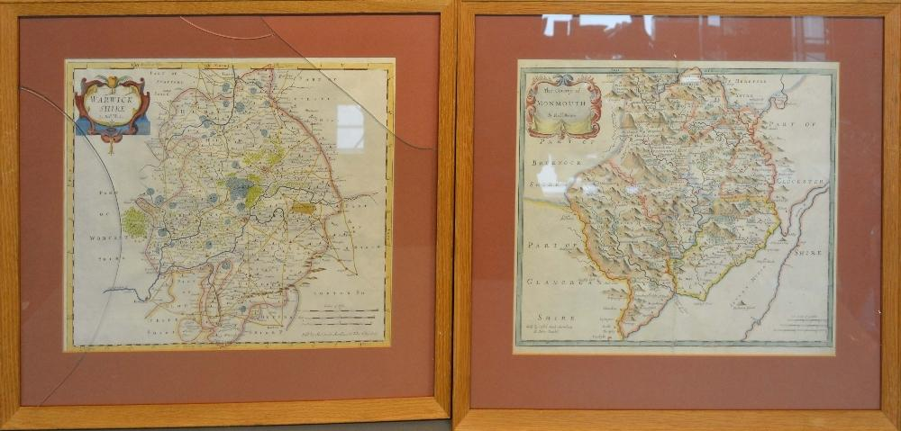 Lot 75 - A Coloured Map of Monmouthshire by Robert Morden, 36 x 42cm, together with another similar map of