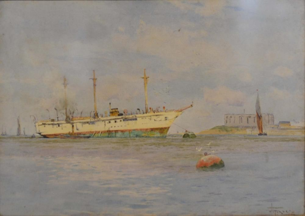 Lot 74 - J Fraser, 1858-1927, England, HMS Turquoise by the Shoreline, watercolour, signed, 35 x 52cm. HMS