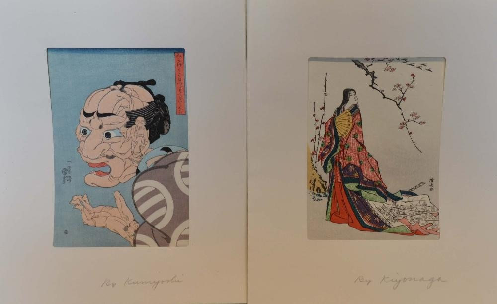 Lot 67 - Kiyonagh, Japanese Woodcut print depicting a lady in dress, together with another similar woodcut