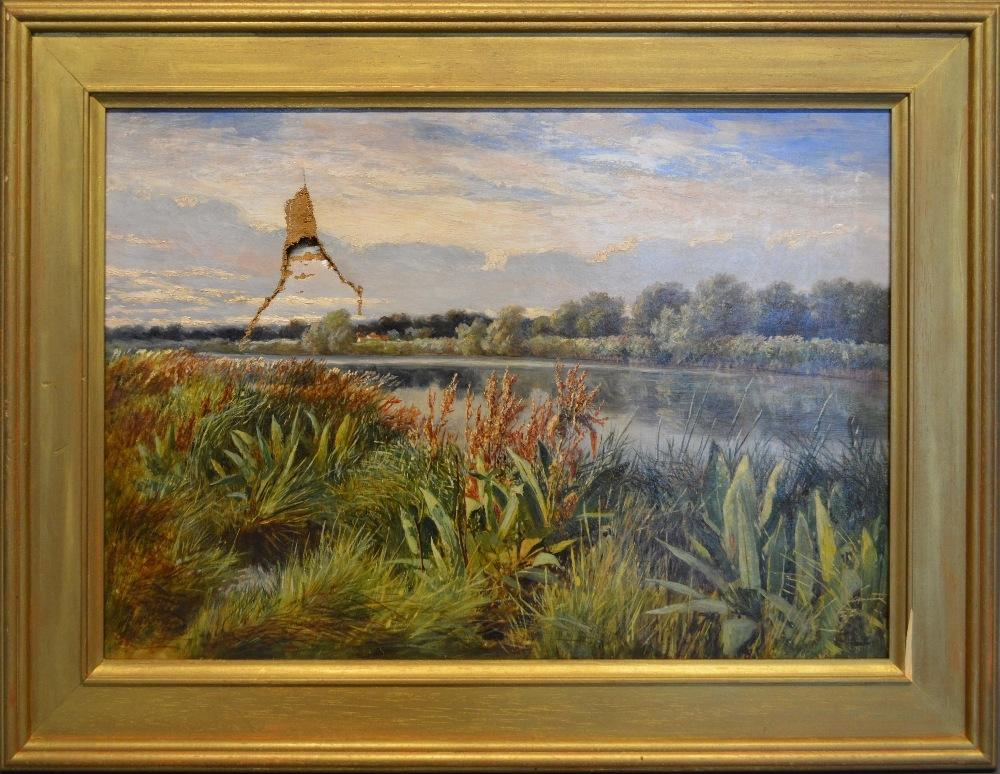 Lot 76 - A 19th Century Oil on Board depicting figure in a row boat on a river, 24 x 30cm, together with an