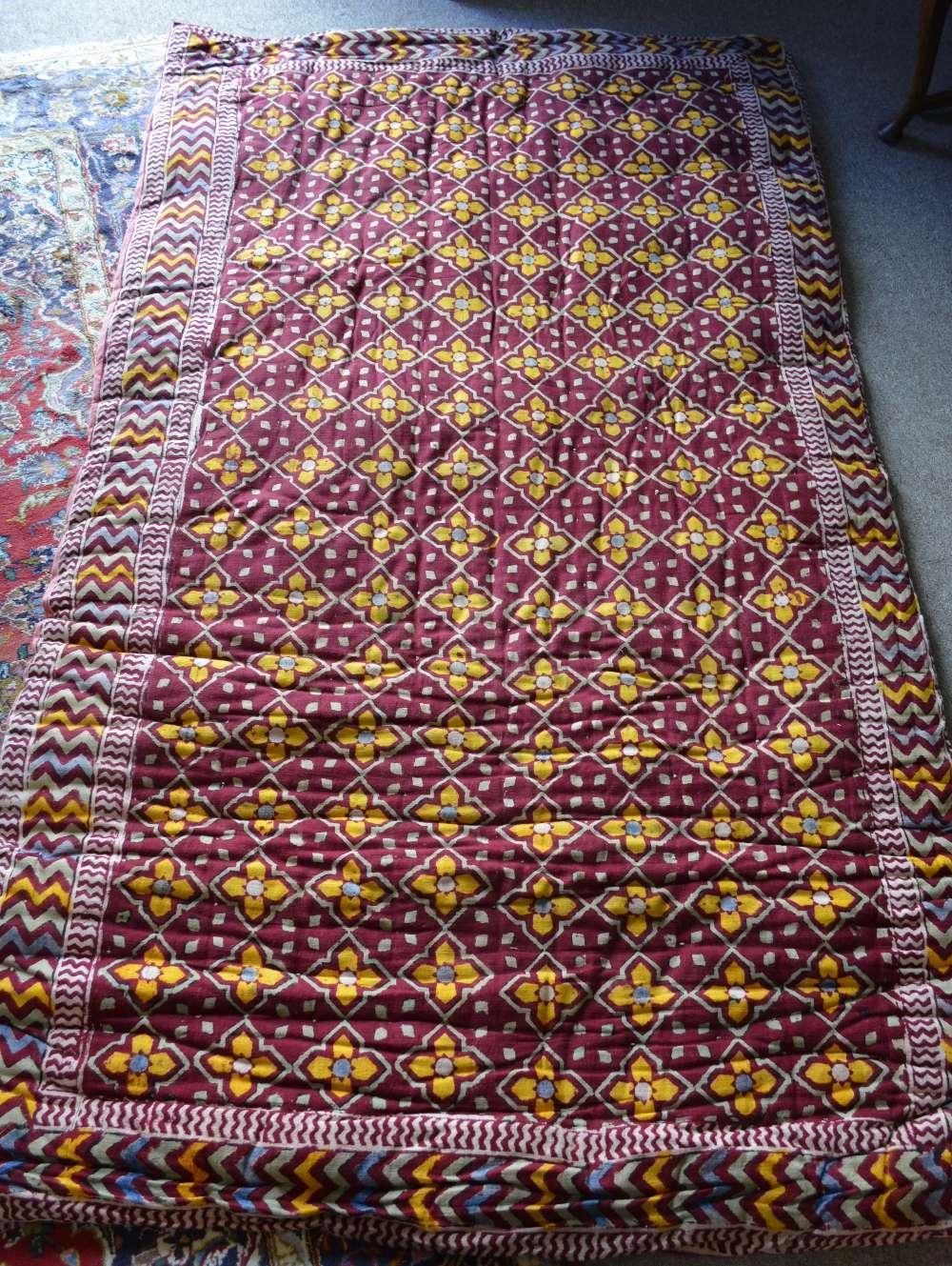 Lot 226 - A Large Rectangular Bedspread with stylised flower head decoration, 140 x 240cm