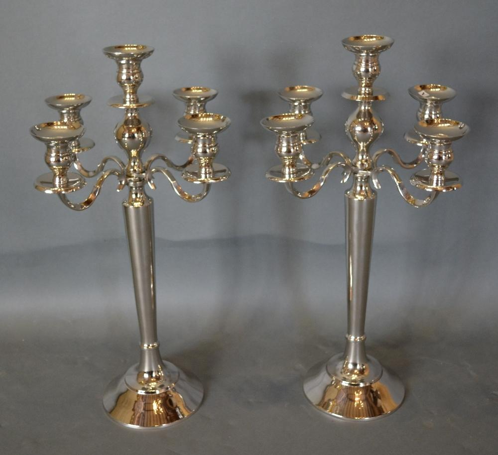Lot 311 - A Pair of Nickel Plated Five Branch Candelabrum, 60cm tall