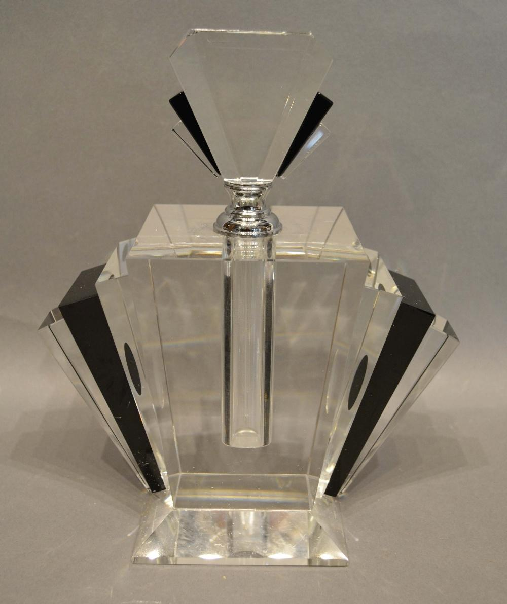 Lot 44 - A Clear and Black Glass Scent Bottle of fan form with stopper, 24cm tall