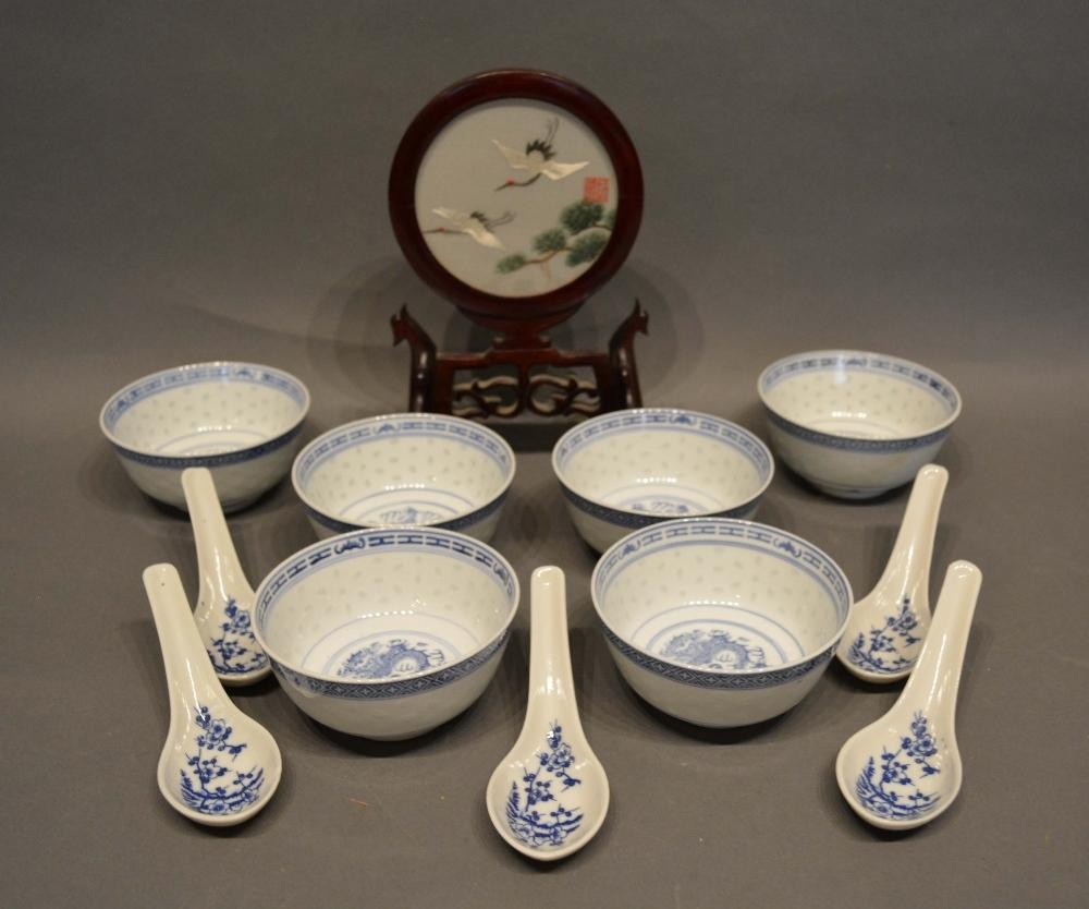 Lot 6 - A Set of Six Chinese Porcelain Underglaze Blue Decorated Bowls, together with a set of five spoons