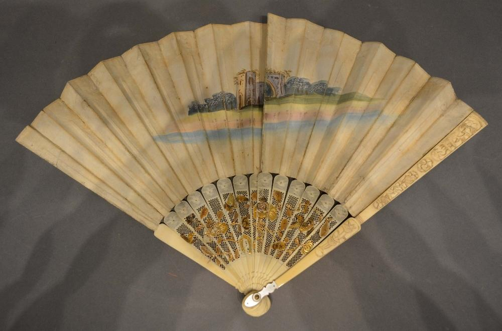 Lot 321 - An 18th Century Fan, hand painted with classical figures within cartouches, the ivory pierced sticks