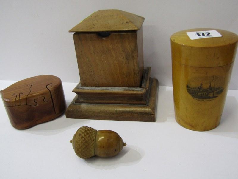 Lot 172 - MAUCHLINE TUMBLER HOLDER with Harwich Esplanade transfer, also acorn design thimble holder, card
