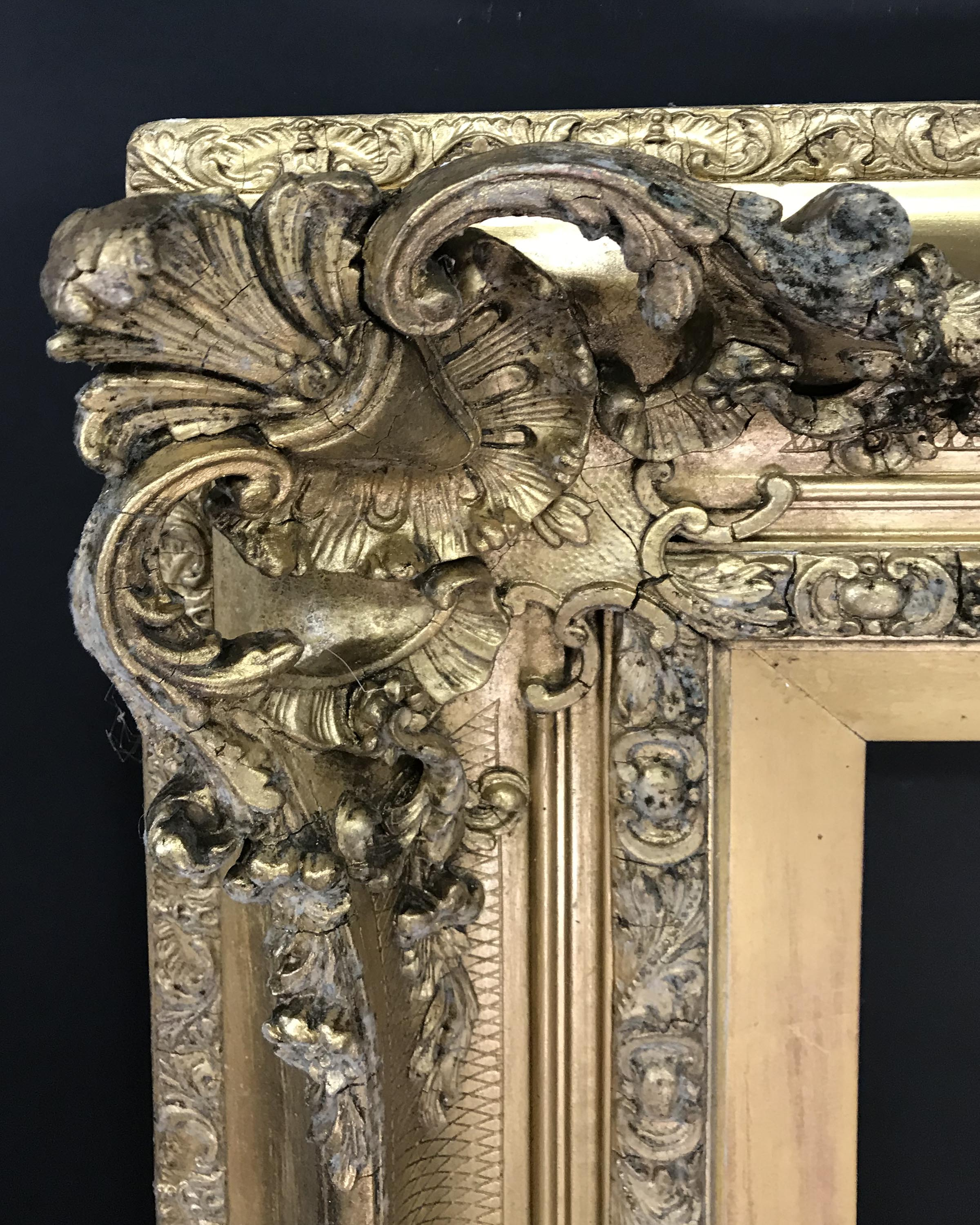 Lot 41 - 19th Century English School. A Gilt Composition Frame, with Swept and Pierced Centres and Corners,