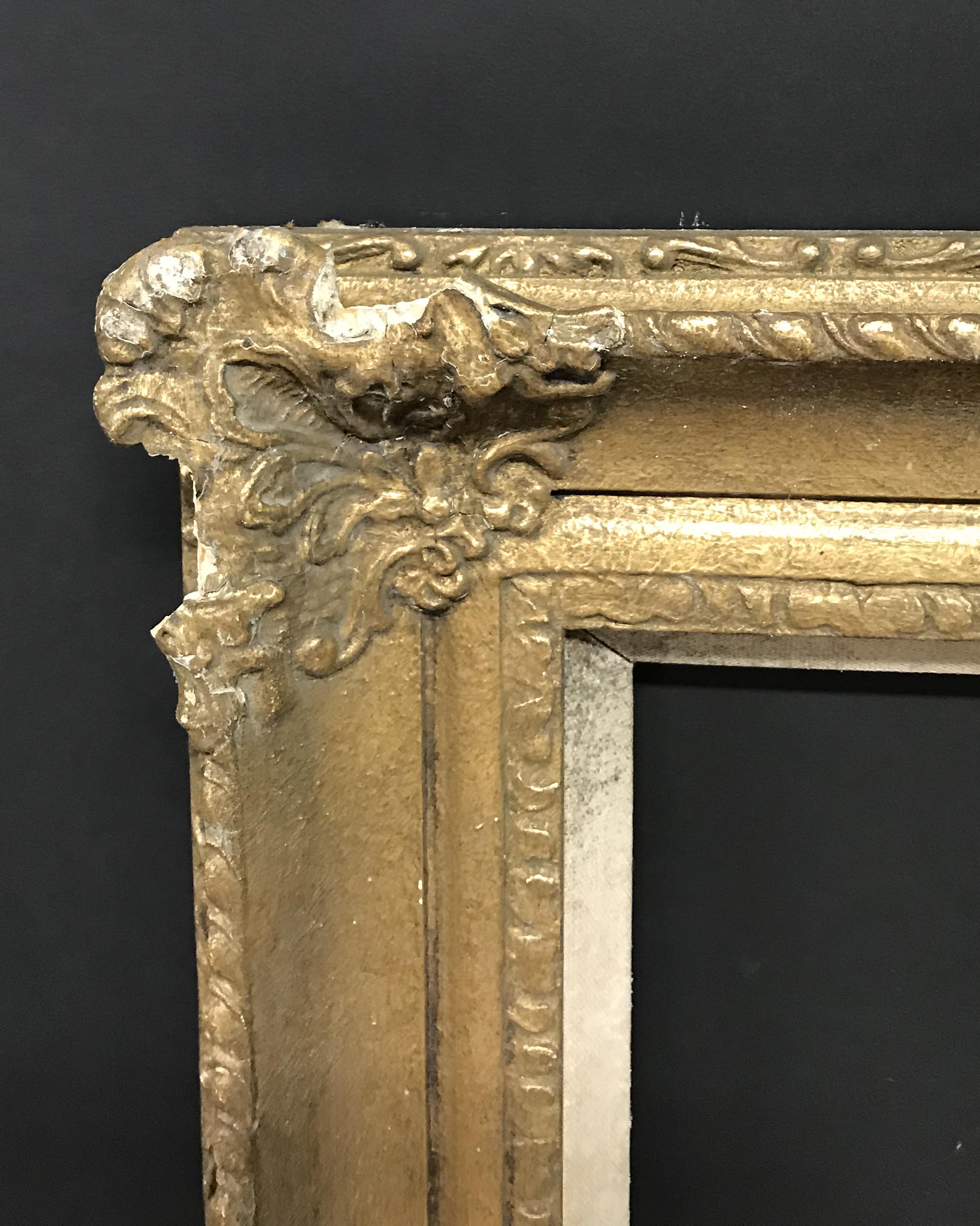 Lot 35 - 20th Century English School. A Gilt Composition Frame, with Swept Centres and Corners, and a Hessian