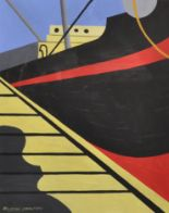Lot 232 - Attributed to Ralston Crawford (1906-1978) Canadian. Study of a Ship, Gouache, Signed, and Inscribed