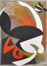 """Lot 230 - Felix Anaut (1944- ) Spanish. Abstract in Black, White and Red, Mixed Media, Signed, 29.5"""" x 21""""."""