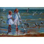 """Lot 570 - Konstantin Razumov (1974- ) Russian. """"The Seagulls"""", Two Young Girls on a Beach, with Seagulls,"""