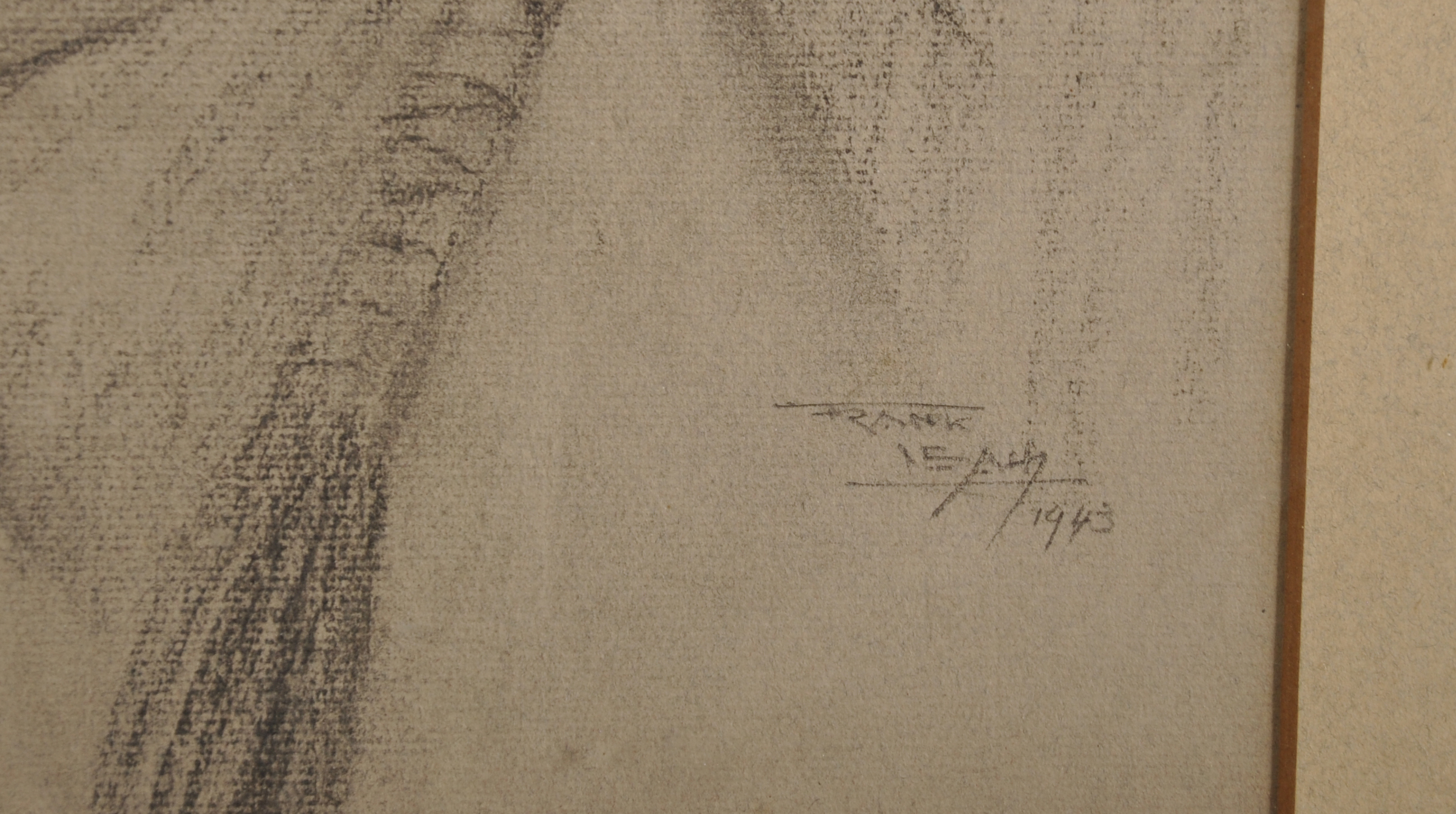 Lot 231 - Frank Leah (1886-1972) Irish. The Head of a Red Indian, with a Feather in his Hair, Charcoal, Signed