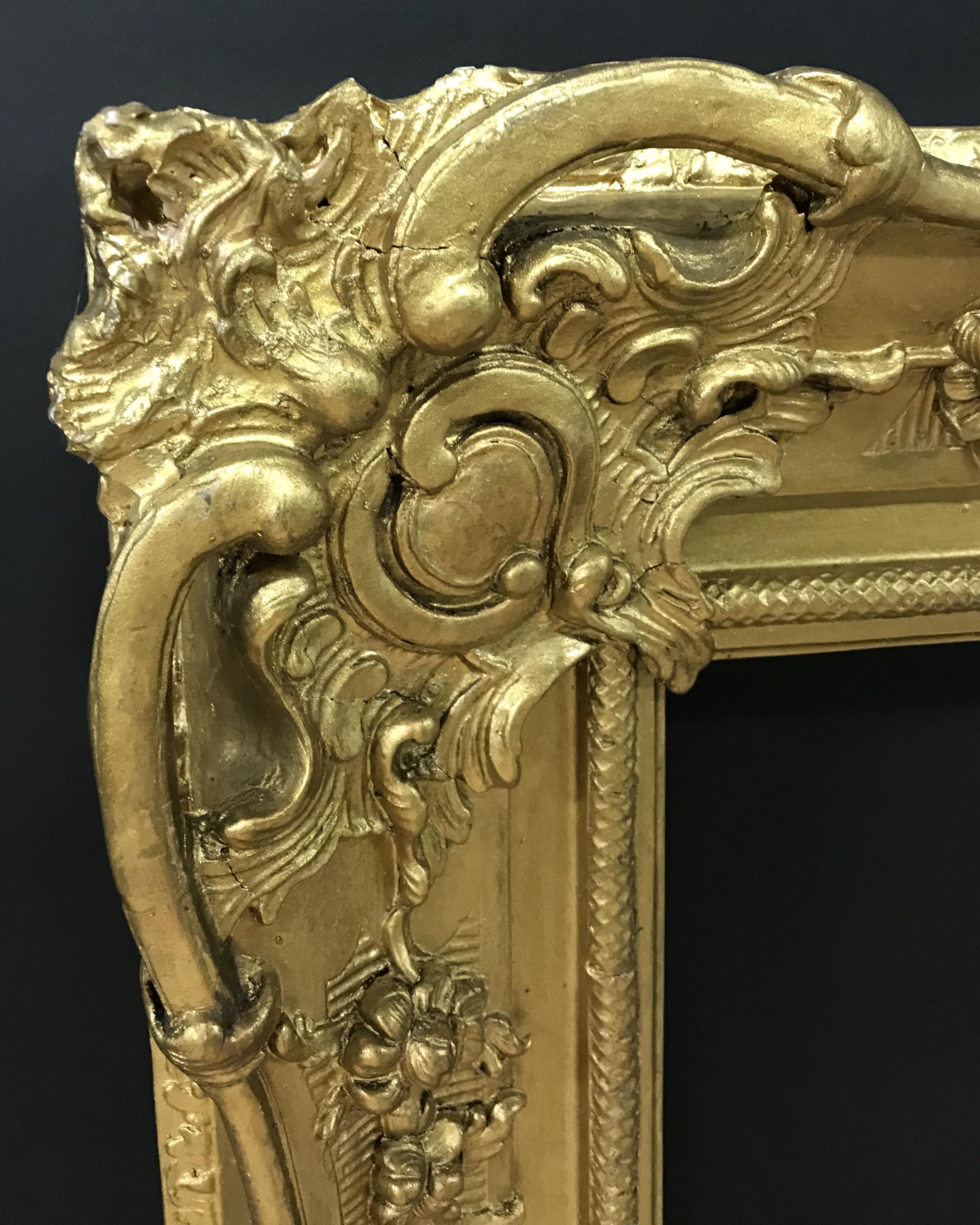 Lot 7 - 19th Century English School. A Gilt Composition Frame, with Swept and Pierced Centres and Corners,