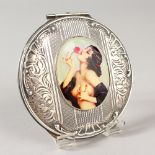 Lot 1776 - A CIRCULAR SILVER COMPORT, the lid with a glamour model.