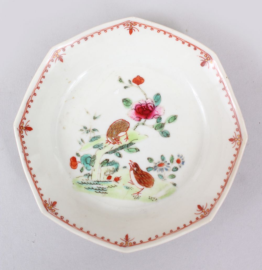 Lot 29 - AN 18TH CENTURY CHINESE FAMILLE ROSE HEXAGONAL PORCELAIN SAUCER, decorated with scenes of quail