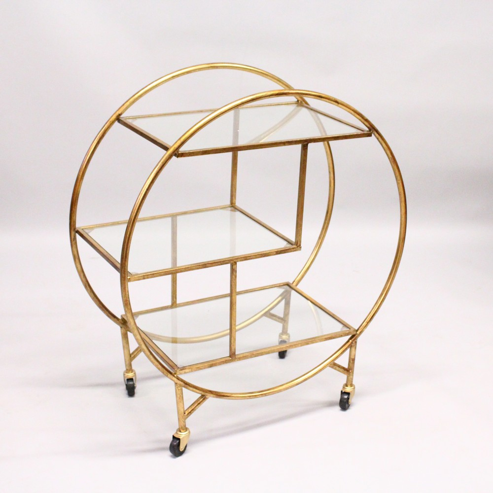 Lot 1024 - AN ART DECO STYLE THREE TIER CIRCULAR COCKTAIL TROLLEY. 2ft 8ins wide x 3ft 1ins high.