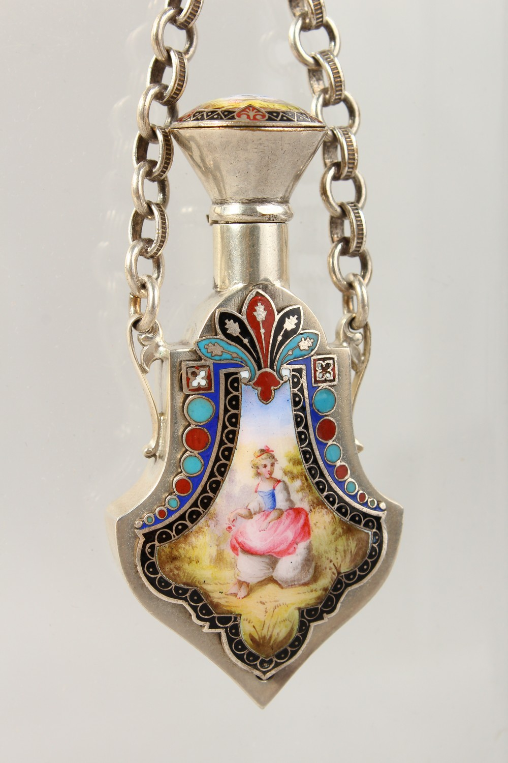 Lot 1658 - A VERY GOOD SILVER AND ENAMEL PERFUME BOTTLE CHATELAINE.