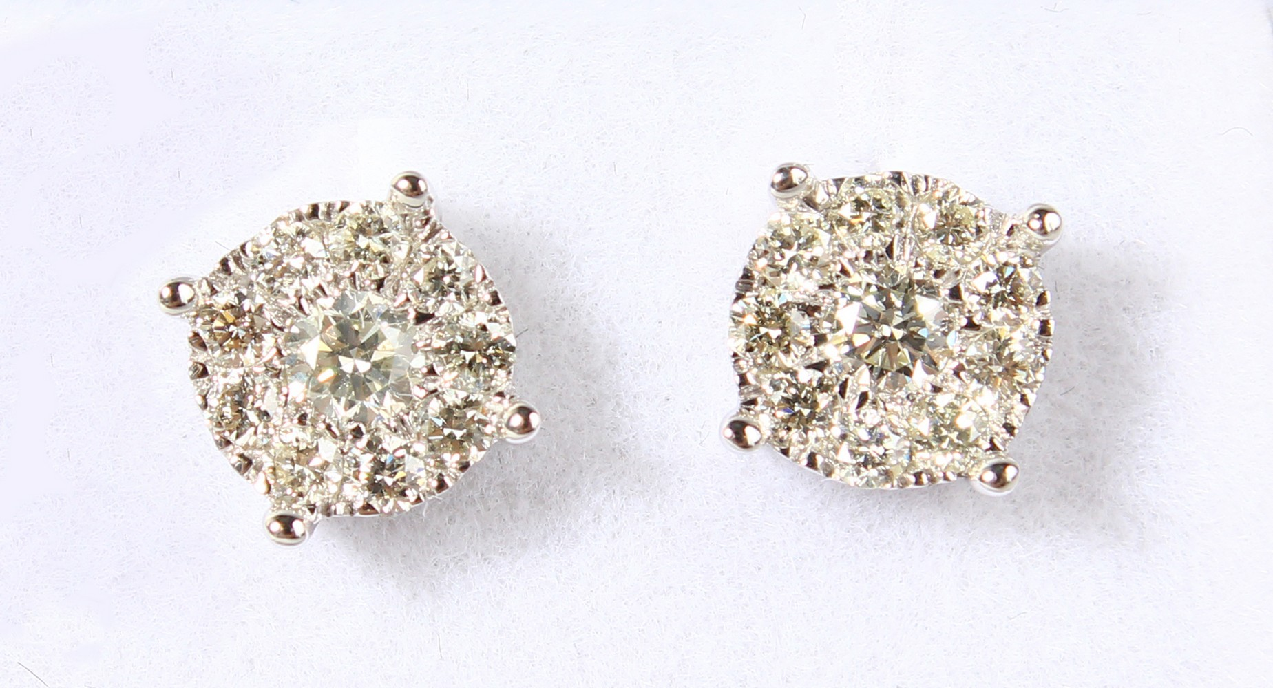 Lot 1782 - A GOOD PAIR OF 9CT GOLD CLUSTER EARRINGS.